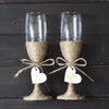 Personalized Rustic Wedding Glasses Set,  Champagne Toasting Glasses
