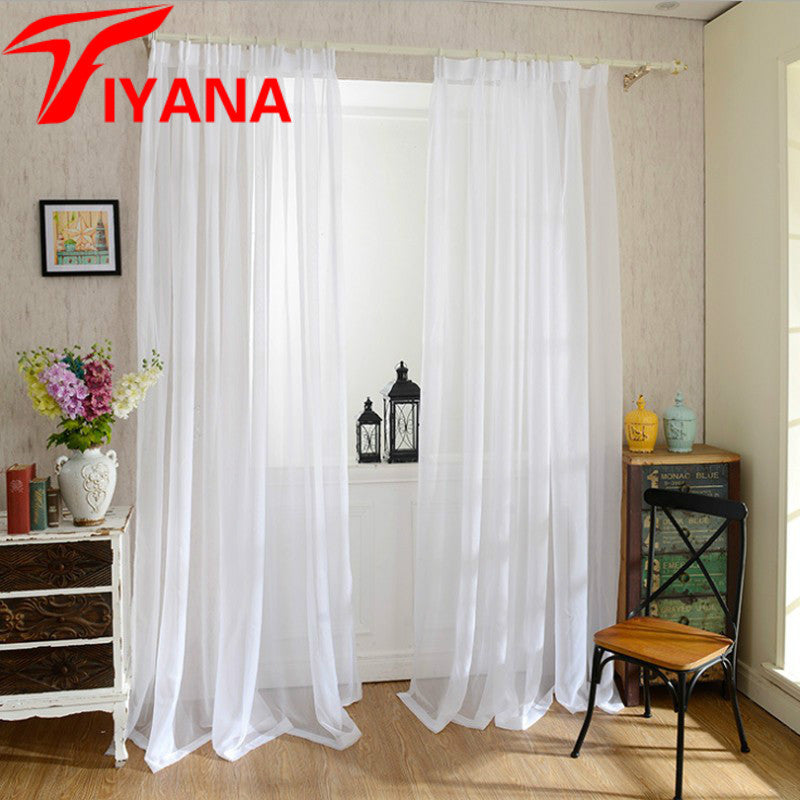 Europe Solid White Yarn Curtain Window Tulle Curtains For Living Room Kitchen Modern Window Treatments Decor Voile Curtain #40