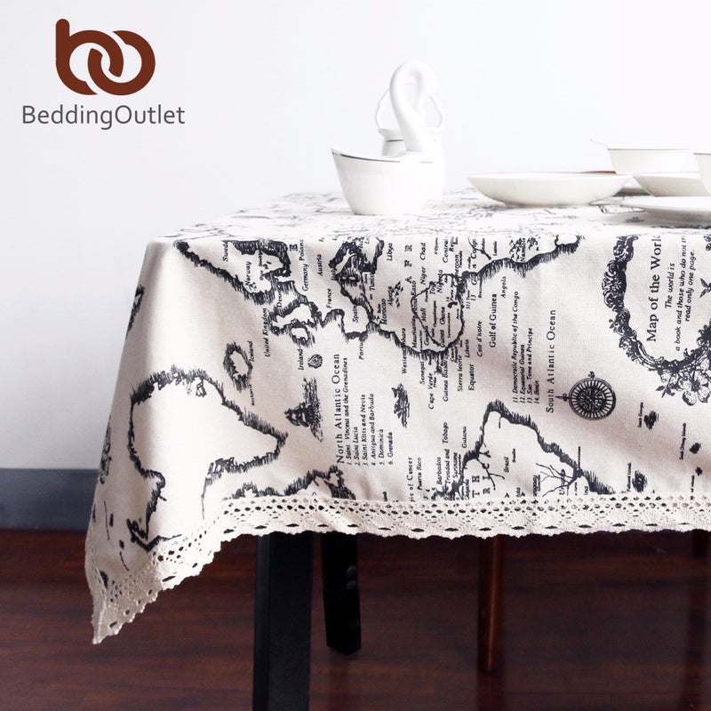 BeddingOutlet Tablecloth Map European Functional Table Cloth for Picnic Party Linen Cotton Tablecloths Rectangular