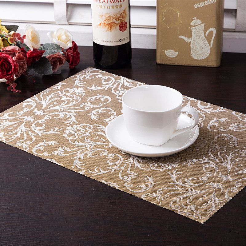 Distinct Interior & 4pcs/set pvc square dining table placemats gold heat insulation table mat coaster bowl pad waterproof table cloth pad