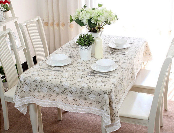 Pastoral Cotton & Linen Table Cloth Dandelion Printed Rectangular Table Cover Lace Edge Tablecloth for Wedding Hot Sale