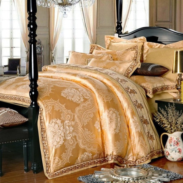 SunnyRain 4/6 Pieces White Jacquard Silk Cotton Luxury Bedding Set King  Size Queen Bed