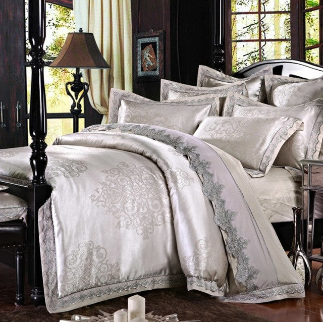 ... SunnyRain 4/6 Pieces White Jacquard Silk Cotton Luxury Bedding Set King Size  Queen Bed ...