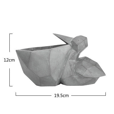DUNXDECO 1PC Modern Grey Geometric Space Art Pelican Squirrel Resin Multifunction Succulent Flower Pots Garden Decor Display