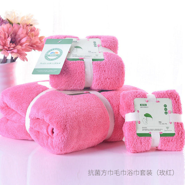 New 2017 Microfiber Towel Set  3pc/set Solid Bath Towel Plain Dyed Hand Towel Quick Dry Towels bathroom for Adult Hair Wrap