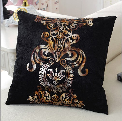 Luxurious Bronzing Cushion Cover with Gold Print
