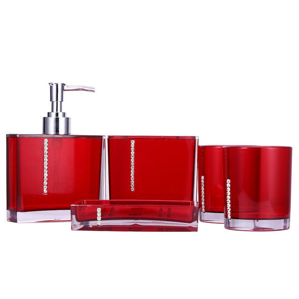 5Pcs/Set Bathroom Supplies Wash Set Family Bathroom Accessories Acrylic Toothbrush Holder Set A