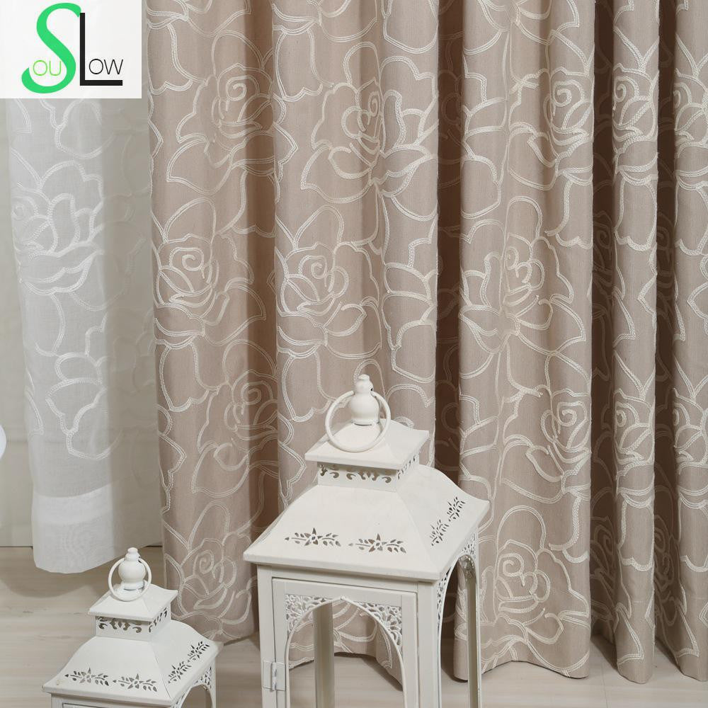 Rose Cotton Embroidered Curtain With Stereo Flower Type Multicolor Embroidery French Window Pastoral Floral Curtains Living