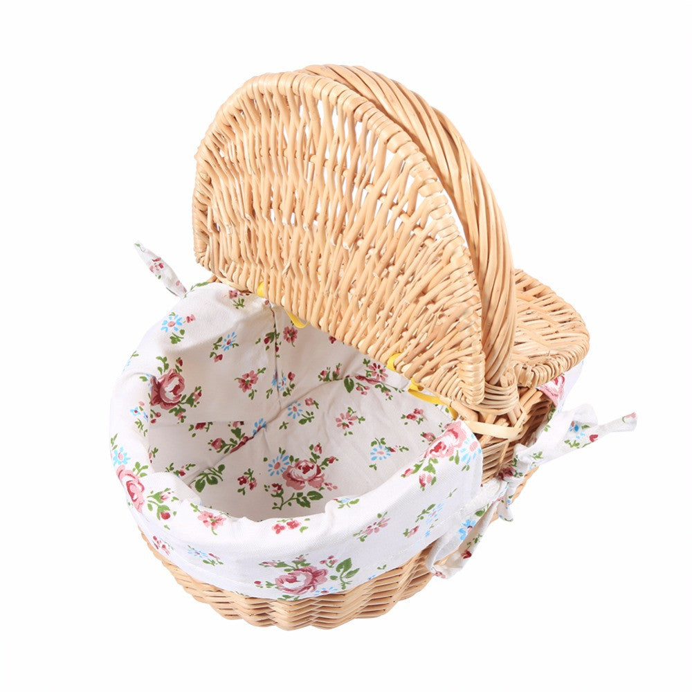 27.5 x 20 x 27cm Wicker Basket Willow and Cloth Wooden color Storage Basket Fruit Rattan Storage Box Snacks Tea Picnic Basket