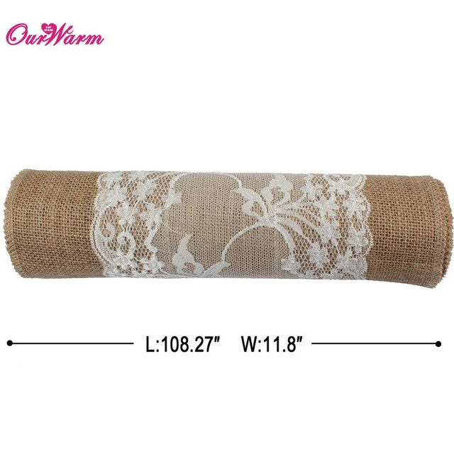 275 x 30cm Burlap Table Runner  Rustic Lace rose wedding party Jute Decor Hessian Vintage Tablecloth Cover towel Tea Set