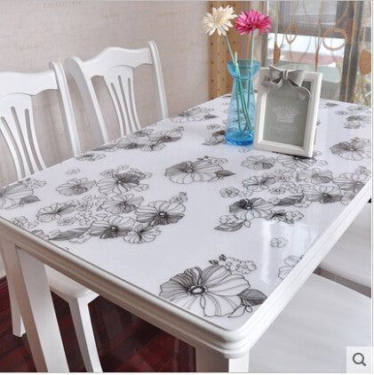 PASAYIONE Soft Class Table Mat Transparent Plastic Table Cloth Modern Floral Crystal Plate Plastic Table Runners Toalha De Mesa