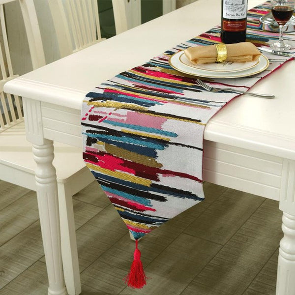 2017 Fashion Modern Colorful Stripes Table Runner Decorative Table Cloth with Tassels Cutwork Embroidered Table Runners ROMORUS