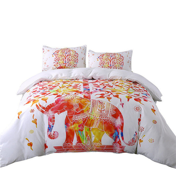 White And Red Bedding Set Boho Duvet Cover and Pillowcase Indian Style Print Exotic Bedclothes Twin/Full/Queen/King 3pc.Set