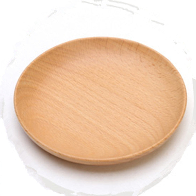 Beech wood entire dessert plate round the afternoon tea dishes Solid wood creativity tableware small wood plate 12CM