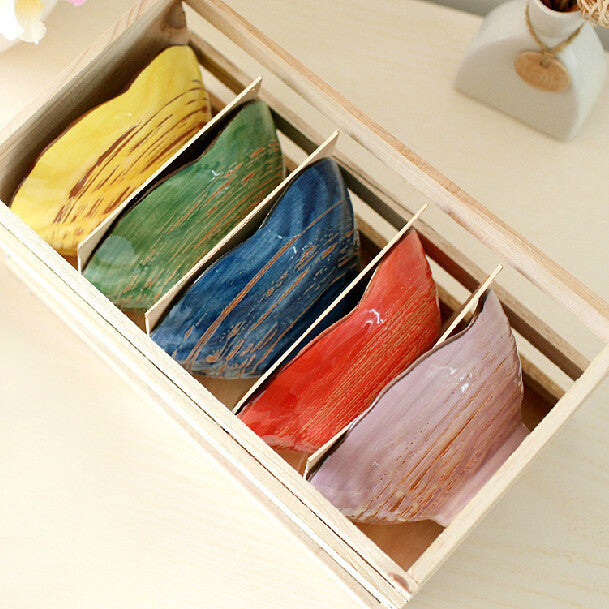 Color Shell Ceramic Bowl Japan Style Art Decorative Ice Cream Soup Bowl Party Dinnerware with no base 5pcs/lot SH651