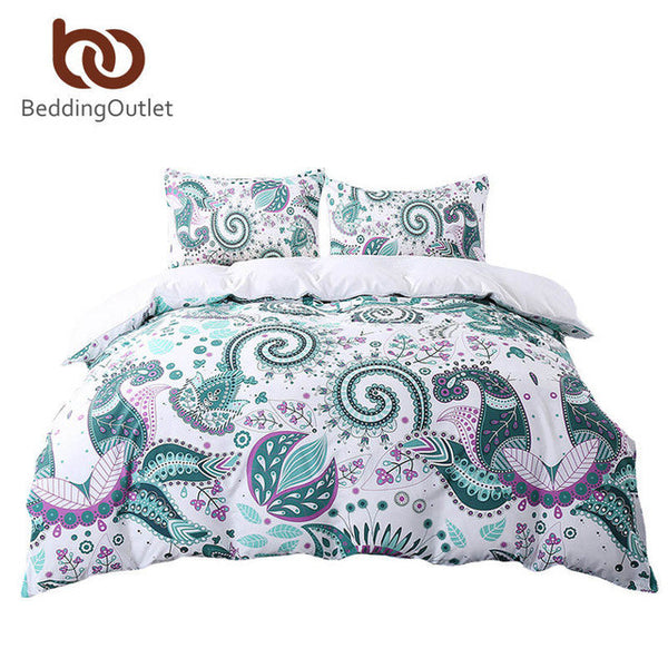Green Floral Paisley Duvet Cover with Pillowcase 3pcs.Set