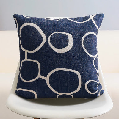 Nautical Cushion Cover Navy Blue Geometric Abstract Design