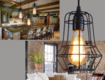 Retro Indoor Lighting Vintage Pendant LED Lights Iron Cage Lampshade Industrial Style Light Fixture