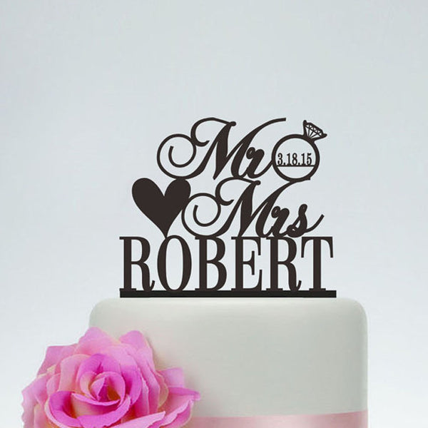 Personalized Mr & Mrs Cake Topper With Ring And Heart Customize With Surname And Date