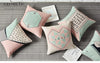 Nordic Pink Geometric Deer Printed Cotton Linen Decorative Cushion Cover