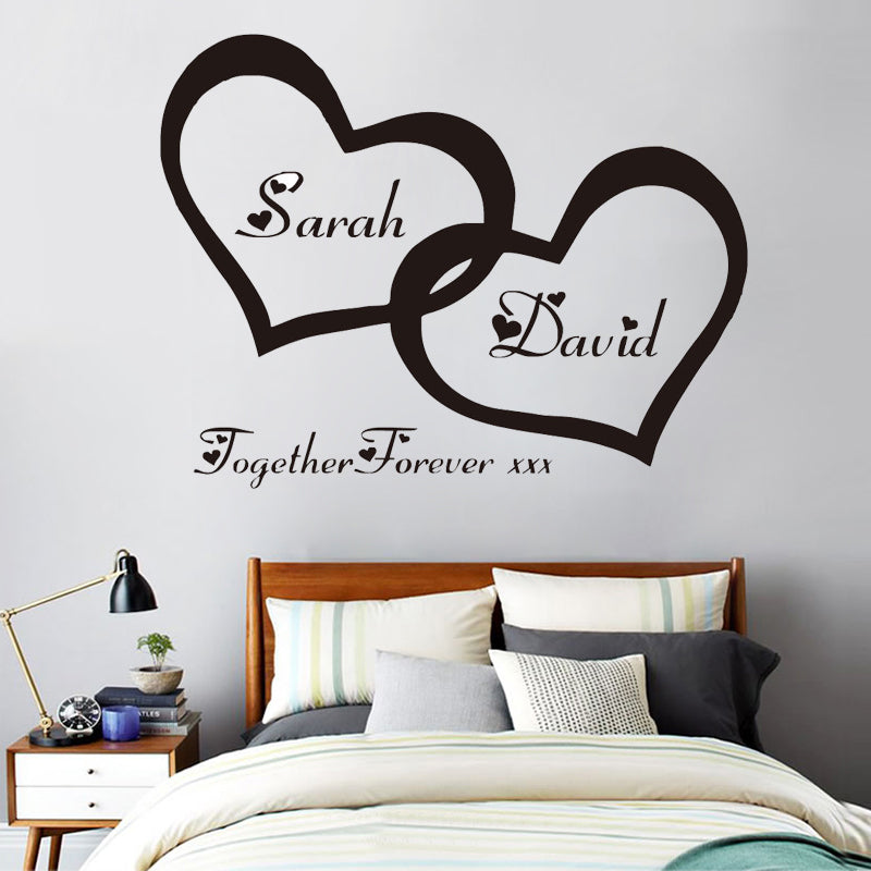 Personalised Computer Cut-out Heart With Couple Name Wall Art Vinyl ...