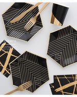 Geometric Black And Gold Disposable Dinner Dinner