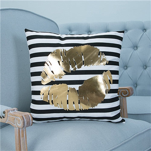 Distinct Interior Gold Foil Kiss Lips Soft Cushion Cover