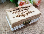 Distinct Interior Custom Rustic Wooden Wedding Ring Box With Couple's Name And Wedding Date