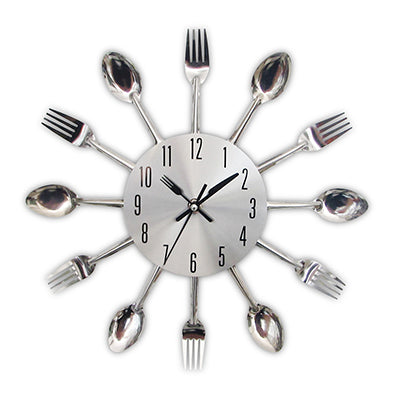Decorative Spoon Fork Quartz Wall Mounted Clock Silver