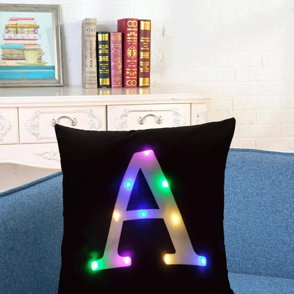 LED Cushion Cover With Initial In Short Plush Fabric 45x45cm