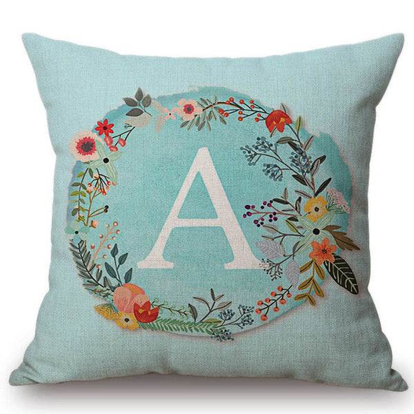 Aqua Blue Flower Wreath Letter Monogram Cushion Cover