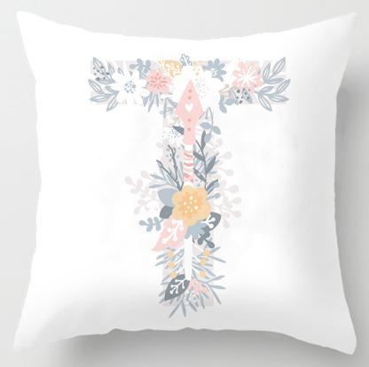 Sweet Floral Alphabet Pillow Case