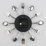 Decorative Spoon Fork Quartz Wall Mounted Clock Black