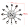 Decorative Spoon Fork Quartz Wall Mounted Clock Green