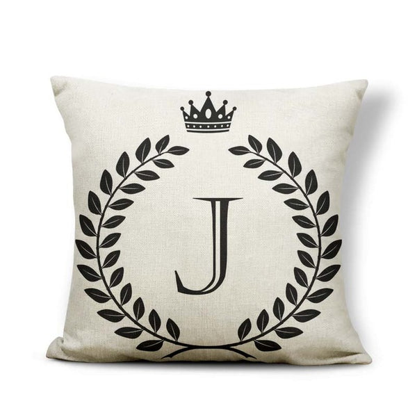 Crown Pillow Case With Initial In Cotton Linen 45x45cm