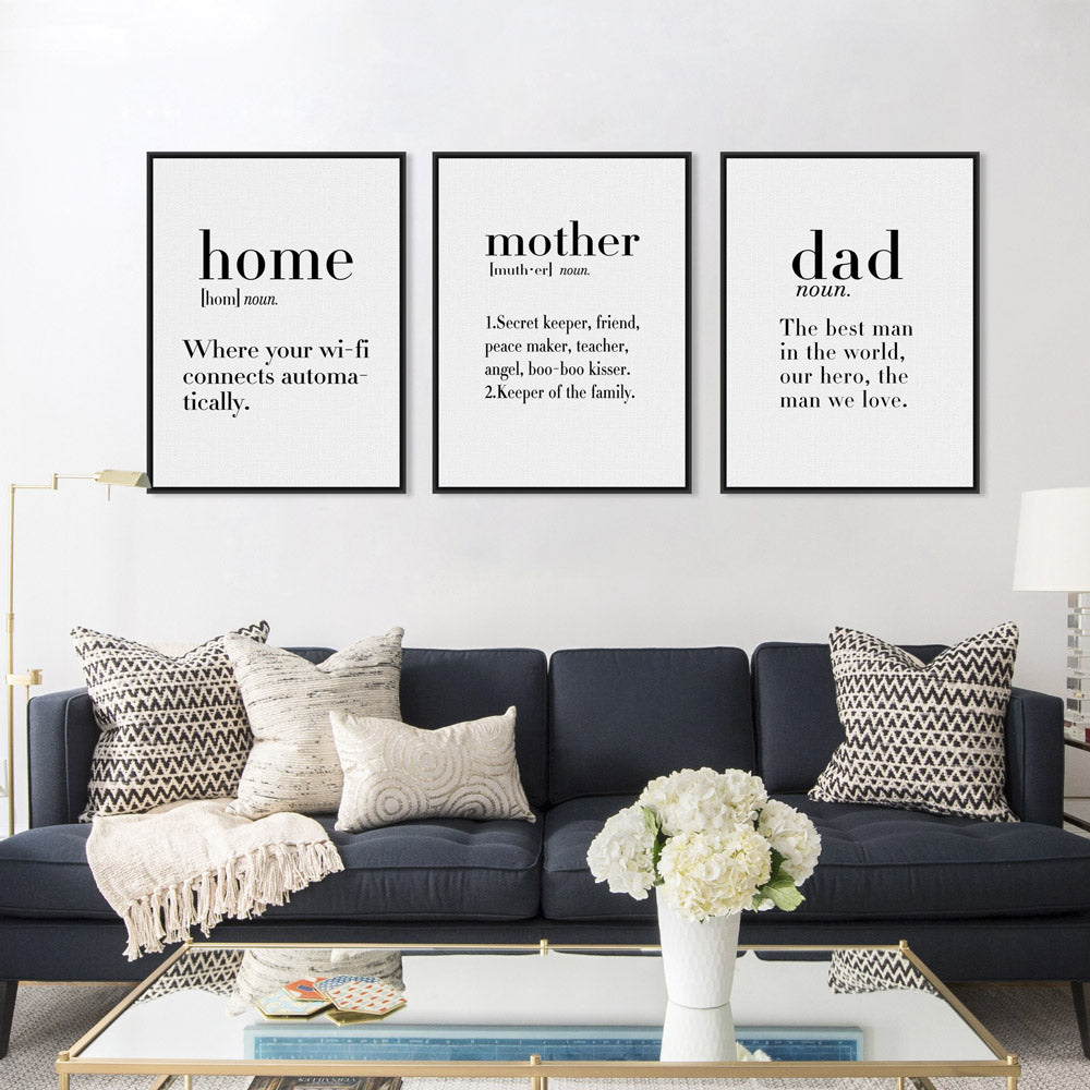 Nordic Black Modern Home Mother Dad Quotes Art Print Poster No Frame ...