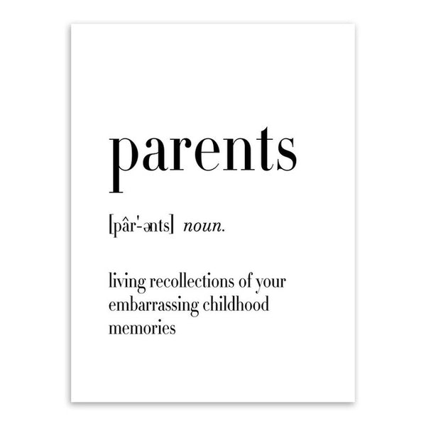 Nordic Black Modern Home Mother Dad Quotes Art Print Poster No Frame