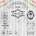 Distinct Interior Personalized Wedding Backdrop Photography With Couple's Name, Date And Personalized Texts