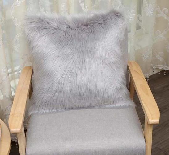 Super Fluffy Grey Faux Fur Cushion Cover