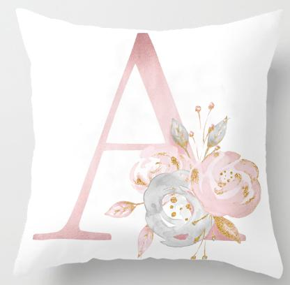 Decorative Floral Pillow Case With Initial Letter In Short Plush 45x45cm