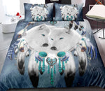 Distinct Interior Personalized Dreamcatcher White Wolf Bedding Set With Name