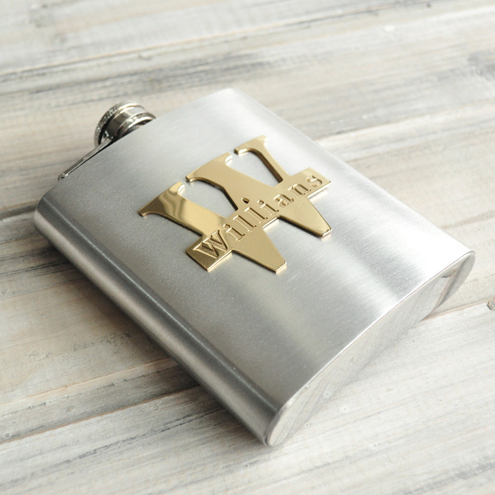 Personalized Flask With Cutout Initial And Engraved Name