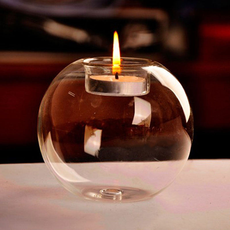 Portable Crystal Glass Ball Candle Tea Light Holder