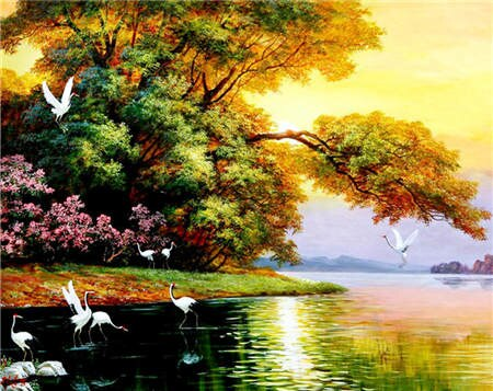DIY Diamond Painting On Canvas With Beautiful Landscape Picture Relaxing Hobby Craft At-Home