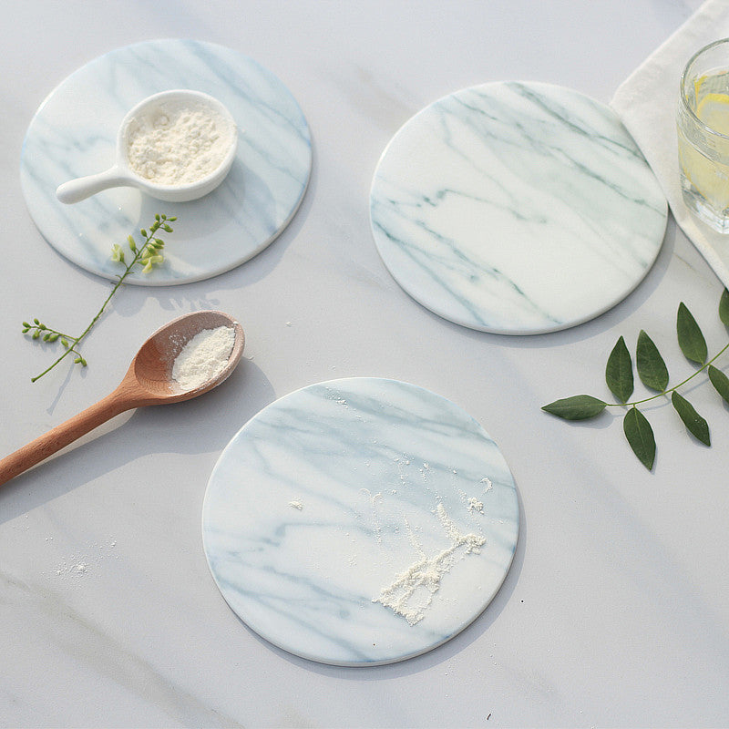 Luxury Marble Grain Non-Slip Coaster 15cm Diameter