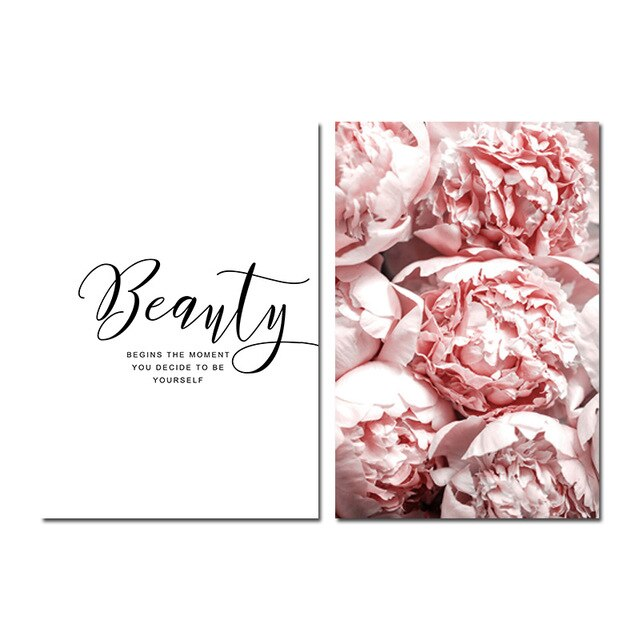 Pink Peony + Beauty Quote Poster Set