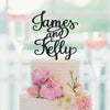 Distinct Interior Personalized Wedding Cake Topper With The Bride and Groom First Names