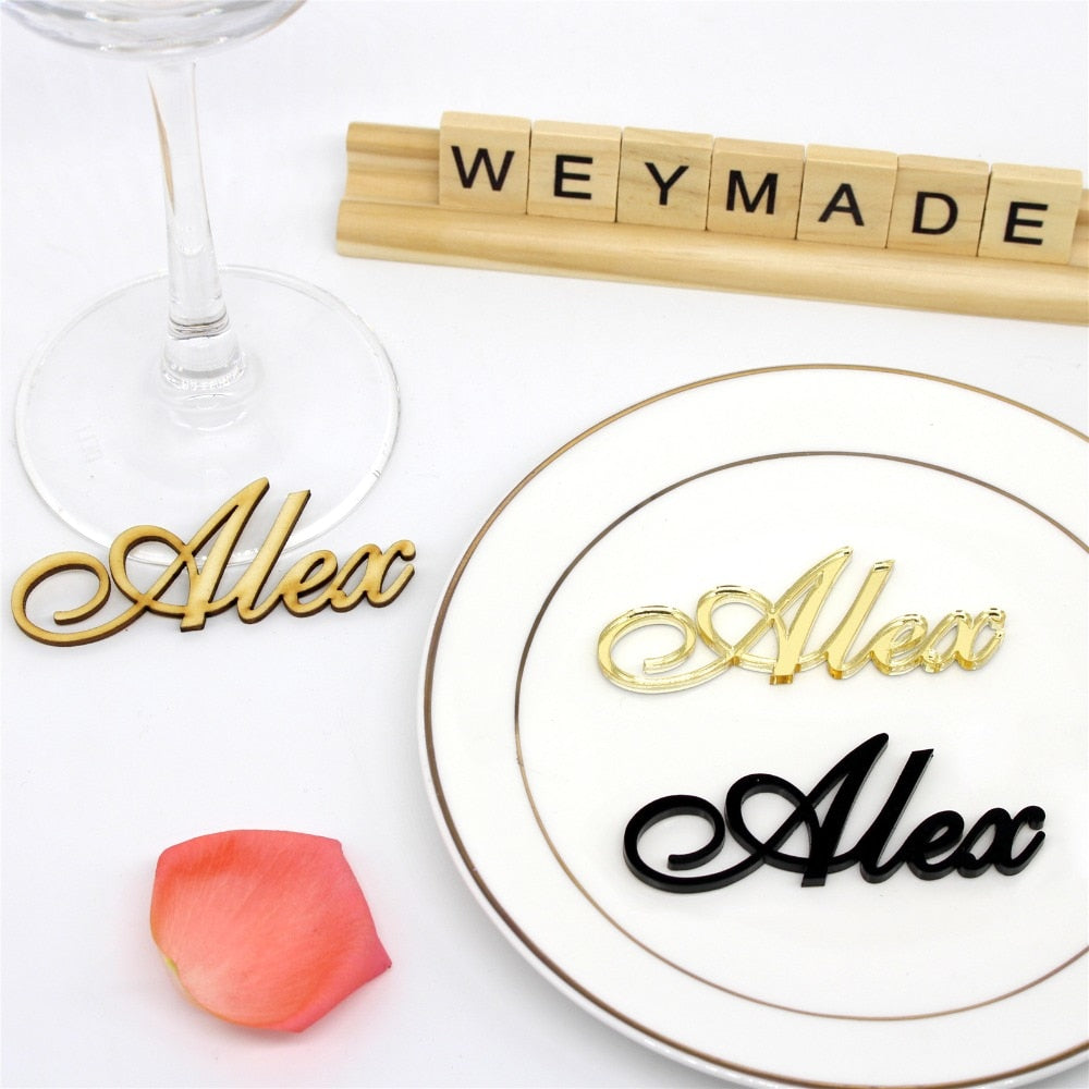 Distinct Interior 25 Pieces Personalized Laser Cut Guest Name Table Setting Place Card
