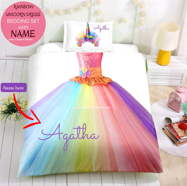 Distinct Interior Personalized Rainbow Unicorn Tutu Dress Bedding Set With Name