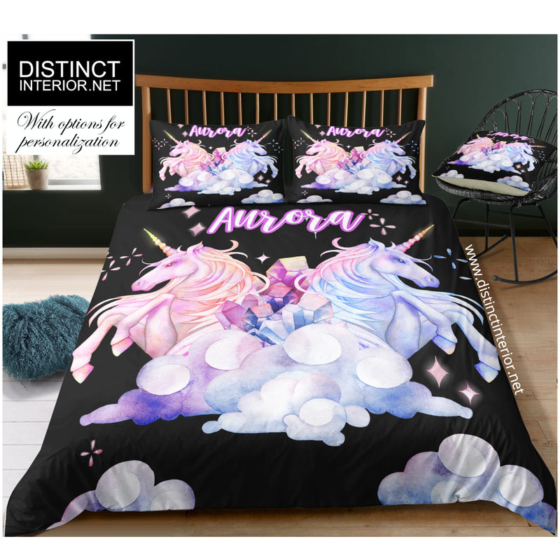Distinct Interior Pastel Watercolor Twin Unicorn Bedding Set With Name